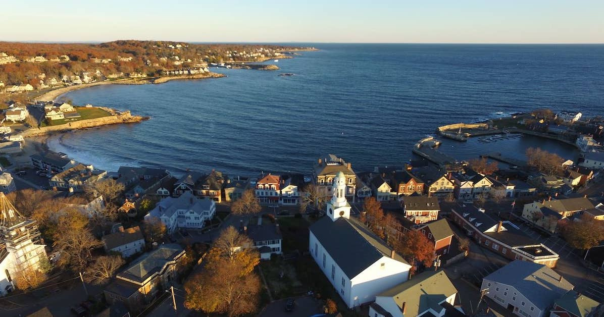 Sunrise Drone photo of Downtown Rockport, MA